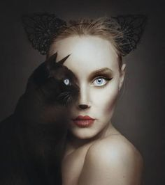 """Amazing photography by artist Flora Borsi. This photoshop in real life """"animeyed"""" Flora Borsi and her makeup skills. She become one with animals by replacing her eyes with theirs. Creative Photography, Fine Art Photography, Photography Ideas, Artistic Photography, Fantasy Photography, Photography Trips, Photography Hashtags, Photography Outfits, Photoshop Photography"""