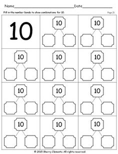 Number Bonds Distance Learning by Sherry Clements Printable Math Worksheets, 1st Grade Worksheets, 1st Grade Math, Kindergarten Worksheets, Worksheets For Kids, Number Bonds Worksheets, Number Bonds To 10, Number 10, Addition Words