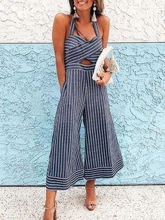 af71a8d1d37a Shop Pinstriped Halter Cross Over Wide Leg Jumpsuit – Discover sexy women  fashion at IVRose