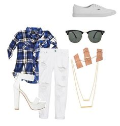 """Blue Plaid White Jeans"" by aprilrodriguez92 on Polyvore featuring Rails, One Teaspoon, Vans, Ray-Ban and Jennifer Zeuner"