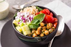 Mediterranean Chickpea Bowls with Tahini Sauce (Simply Recipes) Sauce Tahini, Simply Recipes, Make Ahead Meals, Mediterranean Recipes, Meals For The Week, Brown Rice, Sauce Recipes, Healthy Recipes, Healthy Meals
