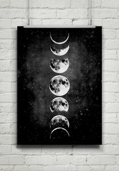 Moon Poster,Full Moon,Moon Art With Moon Phases,Astronomy Art.NO,427 by 8RedFishCreative on Etsy www.etsy.com/...