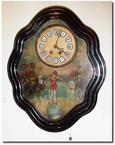 .1870, French, Rare Picture Frame Clock, with music and automaton.