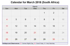 March 2018 South Africa Calendar With Holidays
