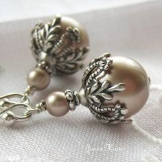 Special Order for Aimee  Champagne Pearl Earrings by JaniceMarie, $37.90