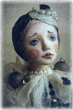 Купить Подвижная кукла Мими - чёрно-белый, коллекционная кукла, авторская работа, авторская кукла