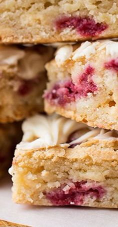 "White Chocolate-Raspberry ""Platinum Blondie"" Bars with White Chocolate Drizzle"