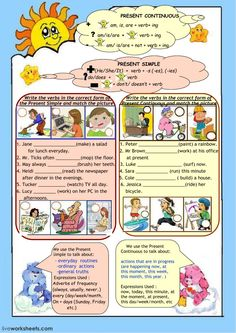 Present simple or continuous Language: English Grade/level: Pre-intermediate School subject: English as a Second Language (ESL) Main content: Present simple and present continuous Other contents: Present Continuous Worksheet, Past Tense Worksheet, English Teaching Materials, Teaching English, English Grammar, Fun Worksheets, Grammar Worksheets, English Lessons, Learn English