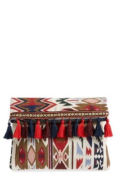 Sole Society Tassel Geo Foldover Clutch available at #Nordstrom