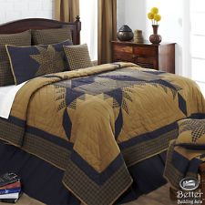 Navy Blue Primitive Plaid Star Country Home Cotton Quilt Bedding Set Collection