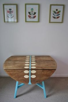 Ercol drop leaf table upcycled handpainted by Ercol Furniture, Funky Furniture, Refurbished Furniture, Upcycled Furniture, Furniture Projects, Vintage Furniture, Retro Furniture Makeover, Country Furniture, House Furniture