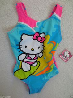Hello Kitty Sanrio Girl Swimming Suit One piece Size 4 Pink/ BlueNWT