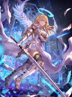 1girl armor armored_boots bangs blonde_hair blue_eyes blurry boots breasts center_opening church commentary depth_of_field dress elbow_gloves floating_hair full_body gloves hair_between_eyes halo holding holding_sword holding_weapon jname light_particles long_hair medium_breasts mosaic_art original outdoors parted_lips pointy_ears solo sword thigh_boots thighhighs weapon white_boots white_dress white_gloves white_wings wings