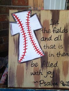 Psalm baseball cross, just needs to be changed to softball and it will be perfect! Baseball Cross, Baseball Mom, Baseball Canvas, Baseball Signs, Baseball Stuff, Baseball Season, Baseball Games, Softball Cross, Baseball Painting