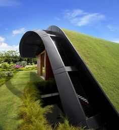 I picture this with a creeping thyme instead of grass on the slope - imagine it all in bloom....(Sky Garden House / Guz Architects)