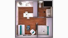 Ideas que mejoran tu vida Studio Apartment Floor Plans, Apartment Plans, Apartment Layout, Apartment Design, Tiny Spaces, Small Apartments, Small House Plans, House Floor Plans, Casas Containers