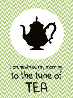 """Poster met theepot....to the tune of tea Poster met theepot en quote """"I orchestrate my morning to the tune of tea"""". Een poster voor de echte theeliefhebber. Een Ribba lijst van IKEA erom ... Check more at http://www.studioinktvis.com/winkel/keuken/poster-met-theepot-tea/"""