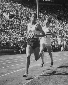 """John Landy and Roger Bannister, """"The Mile of the Century"""" ~ British Empire Games, Vancouver, British Columbia, CanadaAugust 1954  by Ralph Morse"""