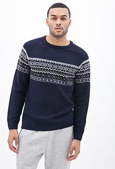 Fair Isle Raglan Sweater | 21 MEN - 2000083346