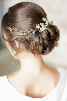 Rustic Elegant Braided Updo with Blossom Flowers | Rachel Rose Photography on /blovedblog/ via /aislesociety/