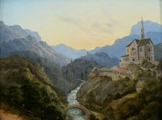 Mountainous landscape with a river valley and an abbey at evening light  Carl…