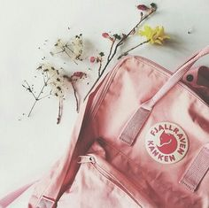 Pink Kanken classic with flowers, oh, my girly heart flutters!