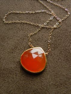 Large Faceted Carnelian Vermeil and Gold Filled by allisonmooney, $48.00