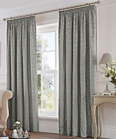 "Enfield Lined Curtains 66"" x 72"" Vintage Floral Damask Swirls Silver Grey Pair Of Ready Made Pencil Pleat Hallways ®"
