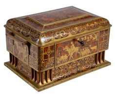 Erhard & Söhne Table Casket, depicting scenes from Hans Christian Andersen's tales, early 1900's, brass with amboina wood intarsia, birch lining, H 21 cm, W 34 cm, D 24 cm, available $8,990
