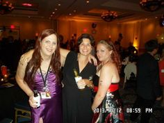 """Julz Owen (to the left in the pruple dress) won our Pinterest prom dress contest earlier in 2013, and she shared a pic of herself wearing her prize! She said: """"I love the dress. I will be shopping from you again in the future!"""" See the dress here: http://www.outerinner.com/thigh-slit-lace-up-back-ruching-prom-dress-pd-08694-0.html"""