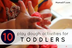 Once your child no longer puts items in his or her mouth, you can try out one of these 10 play dough activities for toddlers! Playdough Activities, Gross Motor Activities, Craft Activities For Kids, Infant Activities, Preschool Activities, Toddler Play, Toddler Preschool, Toddler Crafts, Kid Crafts