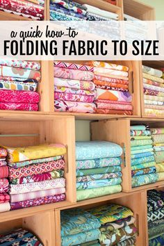 love this sewing room (and tip for organizing/ folding fabrics to size).