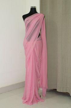 Shimmer georgette saree For colour customization whatsapp at 9962852464 Chiffon Saree, Saree Dress, Georgette Sarees, Modest Dresses, Trendy Dresses, Prom Dresses, Indian Designer Outfits, Designer Dresses, Jute