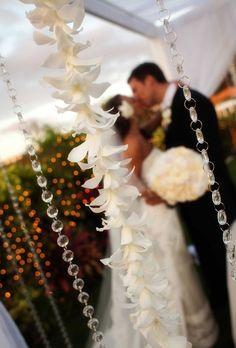 love the hanging beads and flowers #Hawaiian #wedding