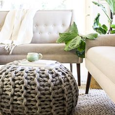 """This is a digital download pattern of how to make this gorgeous chunky knit floor pouf. The PDF file also includes complete directions of how to learn to arm knit / hand knit. The pouf is 24"""" x 24"""".This floor pouf looks snatched from your favorite magazine. I have the best news for you: you can have one for yourself in a couple of hours. This sumptuous pouf will make the most delightful addition to your home! Trust me, it's a good thing they're so fast to make because you're going to want…"""