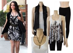 Emmy Rossum casual black and white outfit.