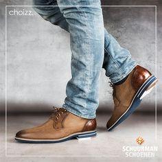 Choizz stijlvolle leren veterschoenen voor heren met blauwe zool - cognac