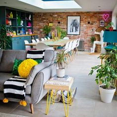 Colourful and quirky open plan living and dining room quirky home decor House Tour: A Fabulously Fun & Colourful Family Home Open Plan Kitchen Living Room, Kitchen Family Rooms, Open Plan Living, Home Living Room, Living Room Designs, Living Room Furniture, Living Room Decor, Living Dining Rooms, Gold Furniture