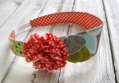 Fabric Headband - Orange White Polka Dot and Light Aqua Gray Fabric Headband with Elastic Back - Tween to Adult - Fabric Flower and Leaves.
