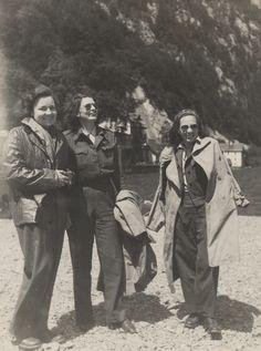 Q57120 - Harriett Pinkston Engelhardt with two other Red Cross workers standing on a beach in Gmunden, Austria. (ADAH)