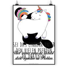 Poster DIN A4 Einhorn stolzierend aus Papier 160 Gramm  weiß - Das Original von Mr. & Mrs. Panda.  Jedes wunderschöne Poster aus dem Hause Mr. & Mrs. Panda ist mit Liebe handgezeichnet und entworfen. Wir liefern es sicher und schnell im Format DIN A4 zu dir nach Hause.    Über unser Motiv Einhorn stolzierend  Hol dir das stolzierende Einhorn und zeig allen, dass du anders bist. Ganz nach dem Motto: Sei immer du selbst, die anderen gibt es ja schon. Perfekt auch als Geschenk für die beste…