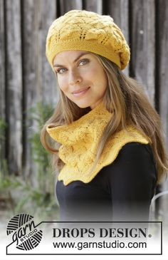 Golden Leaves / DROPS - Knitted hat with lace pattern in DROPS Lima. Piece is knitted with lace and textured pattern. Knitted neck warmer with lace pattern in DROPS Lima. Piece is knitted with lace and textured pattern. Snood Knitting Pattern, Knit Headband Pattern, Knitted Beret, Knit Beanie, Knitting Patterns Free, Free Knitting, Scarf Knit, Knit Cowl, Slouchy Beanie