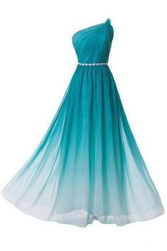 Gradient Floor Length Chiffon Evening Dress Featuring Ruched One Shoulder Bodice with Beaded Embellished Belt Prom Dress Prom Dress, Chiffon Evening Dresses Prom Dresses 2019 Cute Prom Dresses, Dance Dresses, Cheap Dresses, Pretty Dresses, Homecoming Dresses, Beautiful Dresses, Formal Dresses, Dress Prom, Maxi Dresses