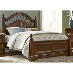 Shop for Liberty Furniture King Poster Headboard, and other Bedroom Poster Beds at Shofer's in Baltimore, MD. Bed Furniture, Poster Bed, Bed Design, Bed, Bed Dimensions, Furniture, Bedroom, Liberty Furniture, Curved Headboard