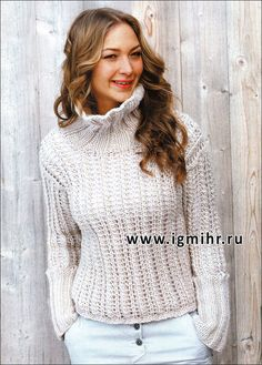 Ажурный белый свитер, от финских дизайнеров. Спицы