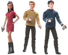 Star Trek characters: Barbie as Lt Uhura, and Ken as Captain Kirk and Mr Spock