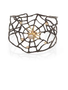 Ariadne Web Cuff with Moonstone, Rubies & Diamonds by Anna Ruth Henriques