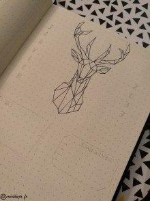 Monthly log janvier en cours pour mon bullet journal. Dessin origami inspiré de pinterest :) #Bulletjournal #Monthlylog #Dessinorigami