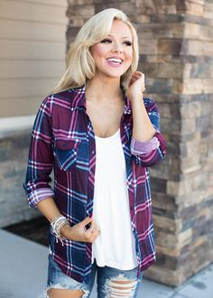 After All This Time Plaid 3/4 Sleeve Top - Modern Vintage Boutique