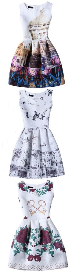 Butterfly And Architecture Print Sleeveless A-line Jacquard Dress